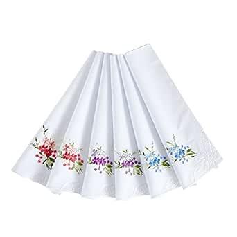 Women's 100% Cotton Handkerchief,Embroidery Hankies Pack of 6 (design 1)