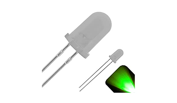 100 x 5mm Round Top Diffused Frosted Lens LED Pure Green LED Ultra Bright Light