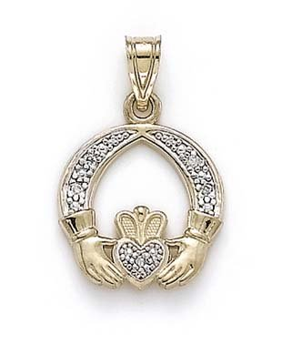 Or 14 ct Diamant brut Claddagh Pendentif