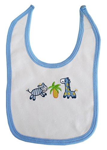 Bambini 2-ply Interlock White With Blue Trim Infant Bib - One Size - White/Blue