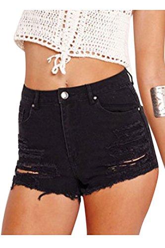 Strappati Zip Interrompe Donne Hot Un Pulsante Black Jeans Buco Le fIETwI