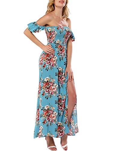 Azalosie Women Off Shoulder Maxi Dress Maternity Floral Short Sleeve Empire Waist Slit Dress Summer Party Beach Blue