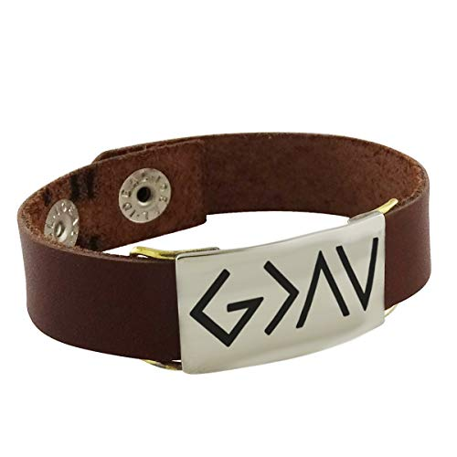 God Is Greater Than The Highs Lows - Engraved Symbols Bracelet W/ Leather Band