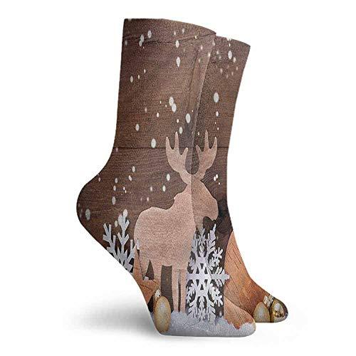 Crew Socks Moose Wooden Animal Stars Balls Hiking Walking Socks -