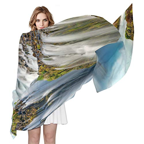 Waterfall In Iceland River Landscape Scarf for Women Soft Cozy Lightweight Scarf Shawl Wraps