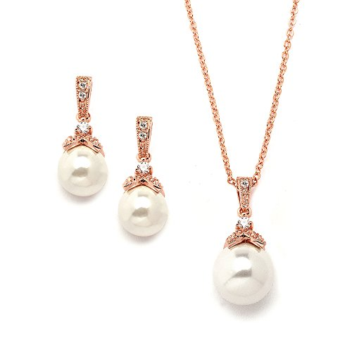 Mariell Rose Gold Vintage Ivory Pearl Wedding Necklace & Earrings Jewelry Set for Brides and - Antique Ivory Pearl