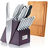 Knife Block Set Squamae Handle Single Piece Stainless Steel Kitchen Knives With Block Sharpener Scissors Steak Knives 15-piece For Home Cooking Gift