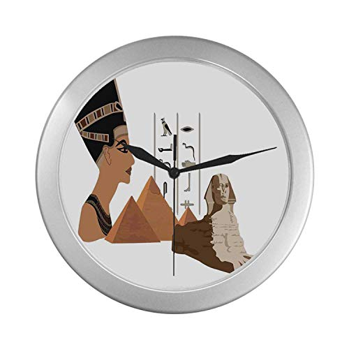 - C COABALLA Egyptian Simple Silver Color Wall Clock,Symbols of Egypt Pyramid Landmark Ancient Culture Elements Illustration for Home Office,9.65
