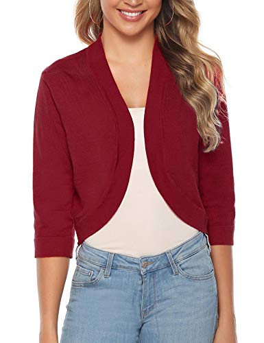iClosam Women Open Front Cardigan 3/4 Sleeve Long Sleeve Cropped Bolero Shrug (Wine Red_1, Small) ()