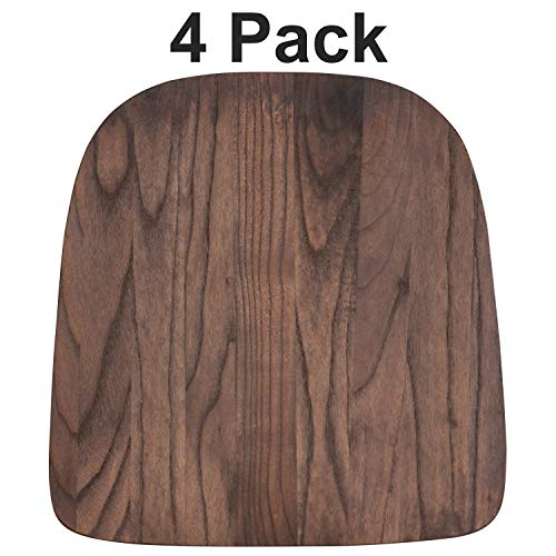 Flash Furniture 4 Pk. Rustic Walnut Wood Seat for Colorful Metal Chairs