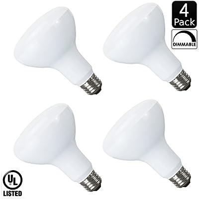 Luxrite LR31815 10-Watt LED BR30 Flood Light Bulb, 65W Equivalent, Dimmable, 650 Lumens, E26 Base, Daylight White 6500K (4 Pack)