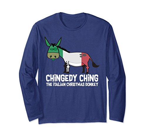 Unisex Dominick The Donkey - Italian Christmas Long Sleeve Shirt XL: Navy