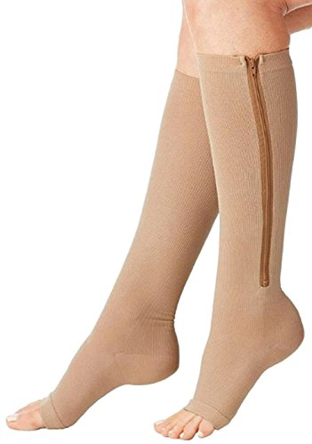 Zippered Medical Compression Socks with Open Toe – Best Support Zipper Stocking for Varicose Veins, Edema, Swollen or Sore Legs – Foot Feet Knee Ankle Arch Pain Ache Relief (ZipBeige, Sm/Med, 1 Pr)