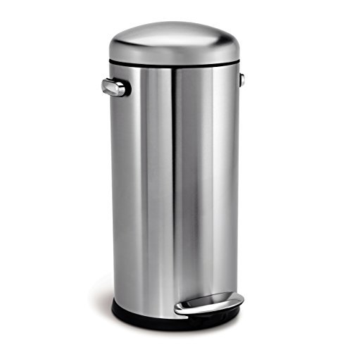 simplehuman Round Retro Step Trash Can, Stainless Steel, 30 L / 8 Gal 30l Retro Pedal Bin