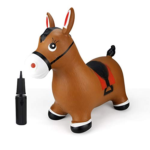 Inpany Bouncy Horse Hopper- Brown Inflatable Jumping Horse, Ride on Rubber Bouncing Animal Toys for Kids/ Toddlers/ Children/ Boys/ Girls ( Pump Included)]()