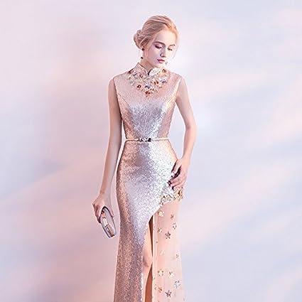 d831fa7c7 JKJHAH Vestido De Noche Mujer Moda Banquete Oro Vestido De Cola De ...