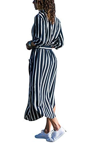 Larga Gasa 38 Flores Casual Mujer Vestido Con Tallas 46 Maxi Irregulares Verano Vestidos De Manga 42 44 Camisas 40 Blusa Bolsillos Botones Rayas Y Largo cuello V 36 Blancas Vevesmundo Azules Eu qzwIgI