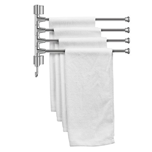 Flexzion Towel Bar 14 Inch with 4-Bar Swing Out Folding Arm & a Hook - Stainless Steel Wall Mounted Towel Swivel Rack Holder Hanger Storage Organizer Space Saving Brushed Finish for Bathroom Kitchen