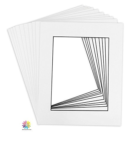 Mat Board Center, Pack of 25 11x14 White Picture Mats with Black Core Bevel Cut for 8x10 Photos by MBC MAT BOARD CENTER