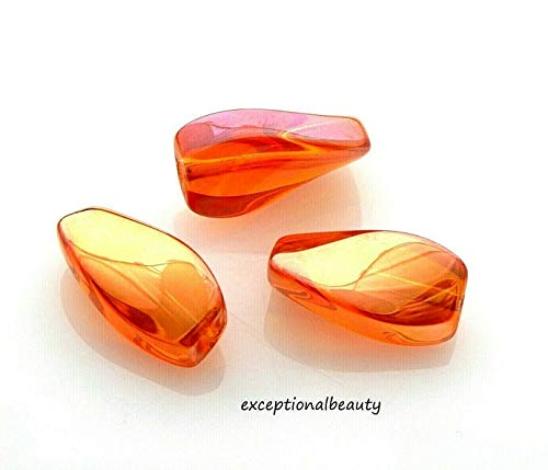 20 Celestial Crystal 17mm Dark Orange AB Smooth Oval Twist Focal Glass Beads