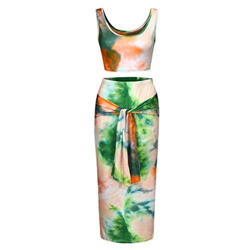 Women's Sexy 2 Piece Outfits Sleeveless Racerback Tank Crop Tops Colorful Tie Dyeing Strappy Tummy Comtrol Bodycon Maxi Skirts Summer Casual Suits