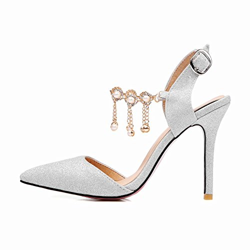 Mee Shoes Women's Shining Stiletto Faux Pearl Court Shoes Silver WkflZe7V