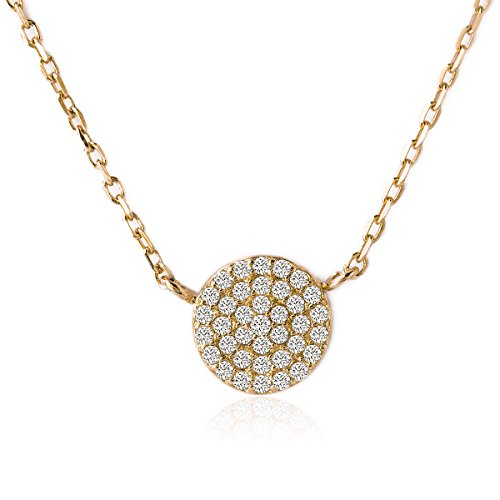 Swarovski Necklace Pave (AMY O Petite Pave Disc Crystal Crystal Pendant Necklace in Gold Vermeil)