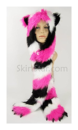 Unisex Furry Hood with Ears and Hand Warmers (Black/White/Pink) (Bear Arms Costume)