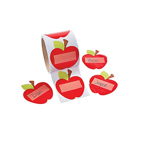 Apple Labels - Apple Shaped Name Tags/Labels - 100 Per Roll