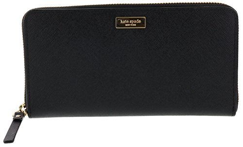 Kate Black Leather (Kate Spade New York Laurel Way Neda Saffiano Leather Zip Around Wallet (Black))