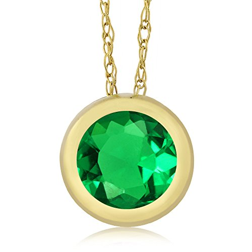 Round Simulated Emerald Yellow Pendant product image