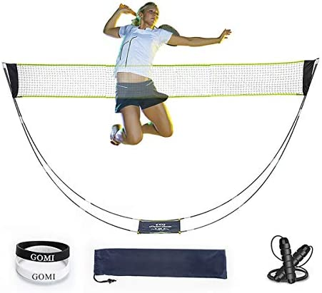 GoMi Portable Badminton Net Set 3 in 1 with Stand Carry Bag, Sports Bracelet, Jump Rope, Foldable Volleyball Tennis Badminton Net Easy Setup for Outdoor Indoor Court, No Tools Required