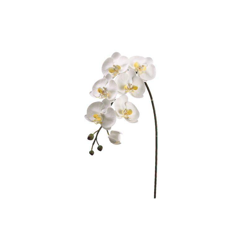 "silk flower arrangements 36"" handwrapped silk large phalaenopsis orchid flower spray -white/yellow (pack of 6)"