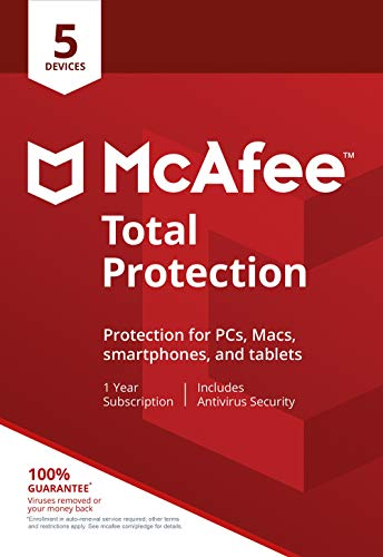 McAfee Total Protection|Antivirus| Internet Security| 5 Device| 1 Year Subscription| Activation Code by Mail |2019 Ready (Up Com Www Sign Email)