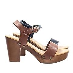 d14af2746c3 Retro Metal Stud Detail Faux Wooden Block Heel Platform Sandal