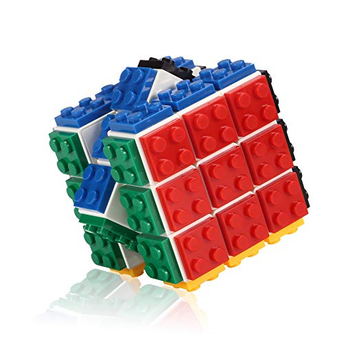 (Building Bricks Magic Speed Cube Puzzle for Kids, Boys and Girls, The Best Handheld Game with 3x3 White Cube with Multi-Colored Removable Blocks, Smooth and Durable Toy for Children 5 & Up)