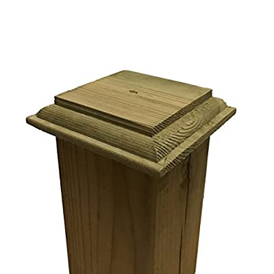 """Pressure Treated Wood Provincial Base Post Cap for 4"""" x 4"""" Fence and Deck Posts"""