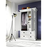 NovaSolo Halifax Pure White Mahogany Wood Storage Cabinet/Wardrobe With 2 Drawers