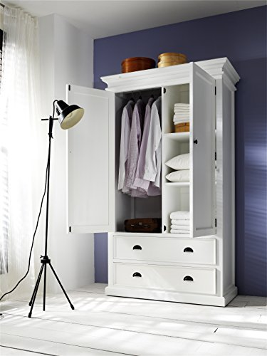 NovaSolo Halifax Pure White Mahogany Wood Storage Cabinet/Wardrobe With 2 Drawers by NovaSolo
