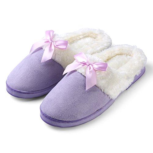 Maison Maison Confortable En Peluche Moelleux Confortable Rêveur Anti-dérapant Slip-on Chaussons Violet