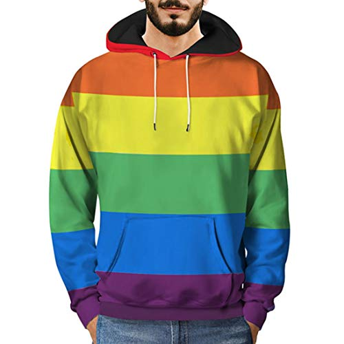 Hoodies for Men, Pervobs Mens Loose Long Sleeve 3D Printed Rainbow Hooded Sweatshirt Pullover Hoodies(3XL, Multi Color)