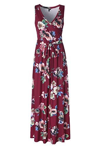 Summer Womens Floral Long Dress Sleeveless Faux Wrap Maxi Dress Burgundy -
