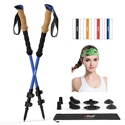 ieGeek Trekking Poles - Adjustable Hiking or Walking Sticks for Men and Women - Strong, Lightweight, Cork Grip, Flip Lock, Collapsible Hiking Poles with All Terrain Accessories and Carry Bag, Headband