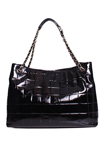 Tory Burch Marion Quilted Patent Leather Tote In Black