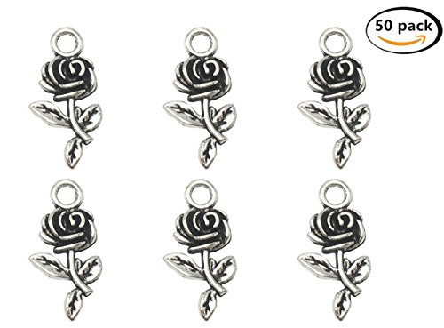 Antique Charm (Yansanido Pack of 50 Alloy Antique Rose 21.2x11mm Charms Pendants for Making Bracelet and Necklace (Rose silver 50pcs))
