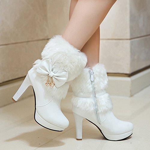YE Damen Plateau Ankle Boots Blockabsatz Stiefeletten mit Schleife und Fell Reißverschluss 10cm Absatz Elegant Warm Schuhe Weiß