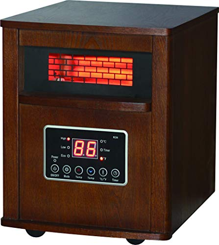 - Comfort Glow QEH1410 Quartz Heater with Remote, Compact, Oak Finish