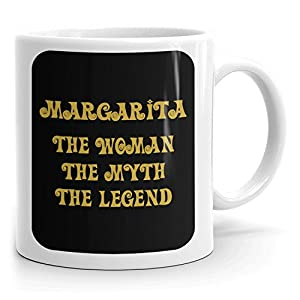 Margarita Coffee Mug - The Woman The Myth The Legend - at Home or in the Office - 11oz White Mug - Gold Black 1