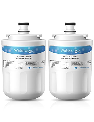 2 Pack Waterdrop UKF7003 Replacement For Whirlpool EDR7D1, Maytag UKF7003, UKF7003AXX, 7003AXXP, UKF7002AXX, 7002, UKF7001AXX, UKF6001AXX, UKF5001AXX Refrigerator Water Filter - Maytag Ukf7003 Refrigerator