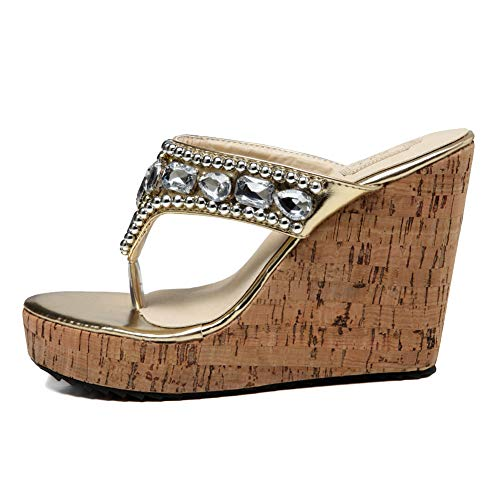 (getmorebeauty Women's Diamante Weave Flip Flop Summer Sandals (7.5 B(M) US,)